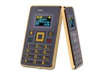 Card Phone K5 - Ultra dünnes Karten Handy in Kreditkartenformat mit LED Display und Bluetooth Funktion in Schwarz / Gold-Silber