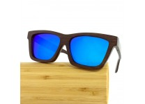 Tommy D. Bambus Holz Sonnenbrillen - Dark Bamboo / Blau